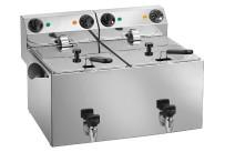 Elektro-Fritteuse 2x 8 l mit Ablasshahn