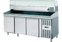 Pizzatisch mit Kühlaufsatzvitrine 9 x GN 1/3 3 Türen 2025 x 800 x 1435 mm