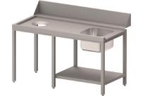 Zulauftisch links mit Becken, Ablagebord und Abwurfloch, 1700 mm