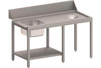 Zulauftisch rechts mit Becken, Ablagebord und Abwurfloch, 1700 mm