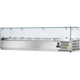Kühlaufsatzvitrine 5 x GN 1/3 + 1 x GN 1/2 H=150 mm, 1500 x 395 x 435 mm