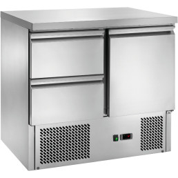 Kühltisch GN 1/1 1 Tür 2 Schubladen 900 x 700 x 870 mm