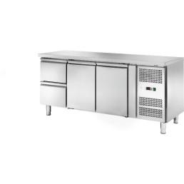 Kühltisch 417 l GN 1/1 ohne Aufkantung, 2 Türen 2 Schubladen