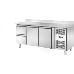 Kühltisch 417 l GN 1/1 mit 100 mm Aufkantung, 2 Türen 2 Schubladen