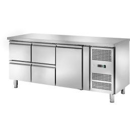 Kühltisch 417 l GN 1/1 ohne Aufkantung, 1 Tür 4 Schubladen