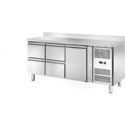 Kühltisch 417 l GN 1/1 mit 100 cm Aufkantung, 1 Tür 4 Schubladen