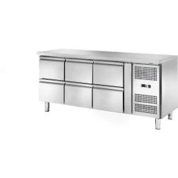 Kühltisch 417 l GN 1/1 ohne Aufkantung, 6 Schubladen