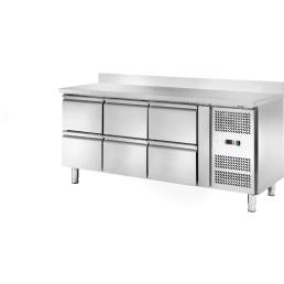 Kühltisch 417 l GN 1/1 mit 100 mm Aufkantung, 6 Schubladen