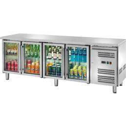 Kühltisch 553 l GN 1/1 ohne Aufkantung, 4 Glastüren